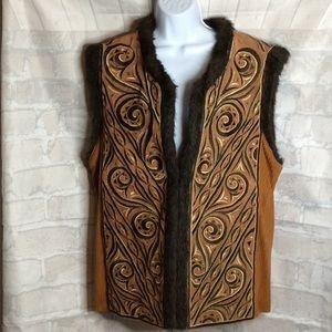 NWOT Bob MacKie Embroidered Plush Faux Fur Vest